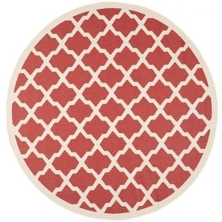 Safavieh Indoor/ Outdoor Courtyard Red/ Bone Rug (7' 10 Round)