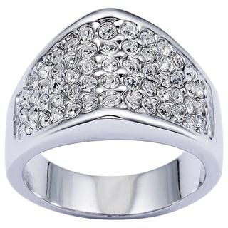 Simon Frank Rhodium Overlay Cubic Zirconia High Dome Micro Pave Ring