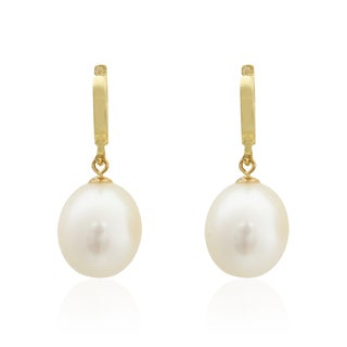 Pearlyta 14k Yellow Gold Teardrop Freshwater Pearl Hanging Earrings (8-9mm)