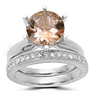 Noori 14k White Gold 1/4ct TDW Diamond and Round Morganite Engagement Ring Set (F-G, SI1-SI2)