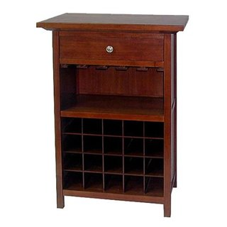 Regalia Glass Walnut Finish Wine Cabinet with Drawer