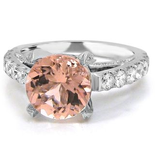 Noori 14k White Gold 7/8ct TDW Diamond and 3 1/5ct TGW Round Morganite Engagement Ring (F-G, SI1-SI2)