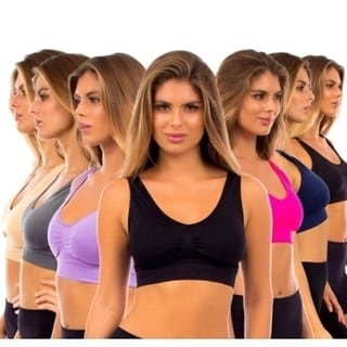 Assorted Colors Seamless Comfort Padded Sports Bras (Pack of 6)