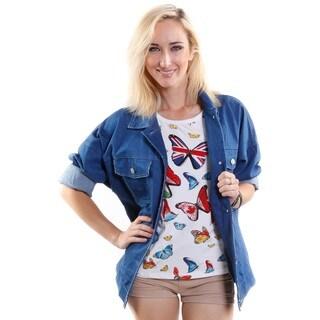 Hadari Women's Oversized Hip Denim Jacket (One Size)