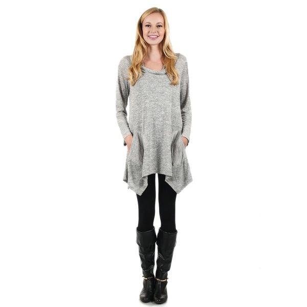 Firmiana Women's Long Sleeve Grey Cowl Neck Pocket Tunic