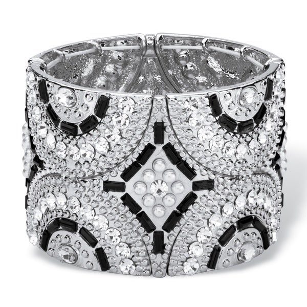 PalmBeach Black and Grey Simulated Crystal and Pearl Geometric Art Deco-Style Beaded Stretch Bangle Bracelet i Bold Fashion