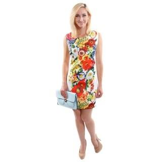 Hadari Women's Floral Print Sleeveless Shift Fashion Dress