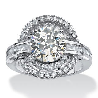 PalmBeach 4.21 TCW Round Cubic Zirconia Vintage-Inspired Double Halo Ring in Platinum over Sterling Silver Glam CZ