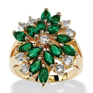 PalmBeach Marquise-Cut Simulated Emerald Green Crystal Cluster Cocktail Ring 18k Gold-Plated Color Fun