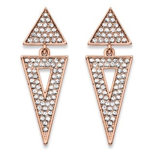 """PalmBeach Round Crystal Double Triangle Cluster Drop Earrings Rose Gold-Plated 1.75"""" Bold Fashion"""