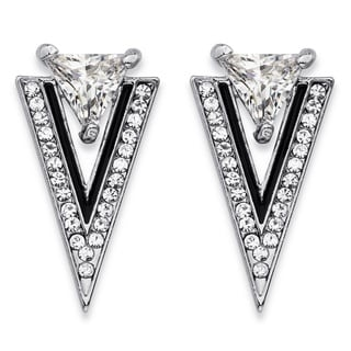 PalmBeach Trilliant-Cut and Round Crystal Double Triangle Art Deco-Style Drop Earrings in Silvertone and Black Bold Fashion