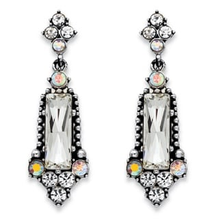 PalmBeach Baguette-Cut and Round Simulated Crystal Antiqued Silvertone Vintage-Style Faceted Drop Earrings wit Bold Fashion