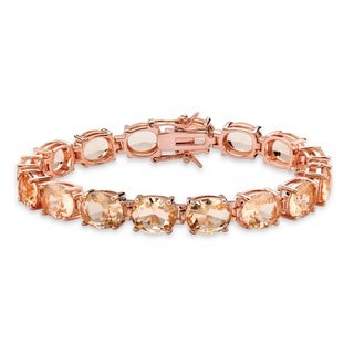 "PalmBeach Faceted Oval-Cut Simulated Pink Morganite Tennis Bracelet Rose Gold-Plated with Box Clasp 7.25"" Color Fun"