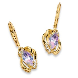 """PalmBeach Marquise-Cut Aurora Borealis Crystal Freeform Loop Drop Earrings 14k Gold-Plated 1"""" Length with Leve Color Fun"""