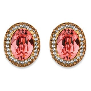 PalmBeach Oval-Cut Simulated Rose Quartz Crystal Halo Stud Earrings with White and Brown Crystal Accents MADE Color Fun