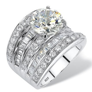 PalmBeach 7.14 TCW Round Cubic Zirconia Multi-Row Scoop Engagement Ring in Platinum over Sterling Silver Glam CZ