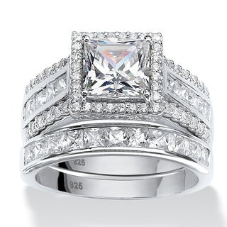 PalmBeach 3.50 TCW Square Cubic Zironica Two-Piece Halo Bridal Ring Set in Platinum over Sterling Silver Glam CZ