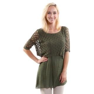 Hadari Women's 2 in 1 Olive Crochet Pullover (One Size)