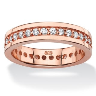 PalmBeach .80 TCW Round Cubic Zirconia Eternity Channel Ring in Rose Gold over Sterling Silver Classic CZ