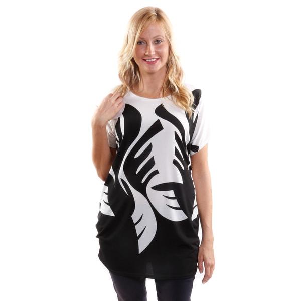 Hadari Women's Leafy Short Sleeve Fashion Tunic 18224470