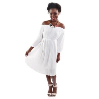 Hadari Women's Off Shoulders Pleated High Fashion Dress