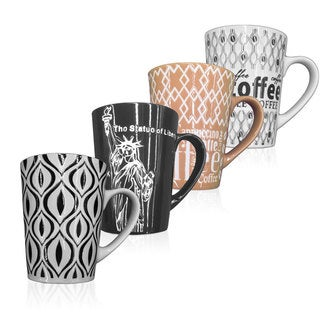 Graphic Print Ceramic 11 Ounce Coffee Mugs (Set of 4)