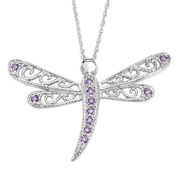 Sterling Silver Cubic Zirconia Dragonfly Pendant Necklace