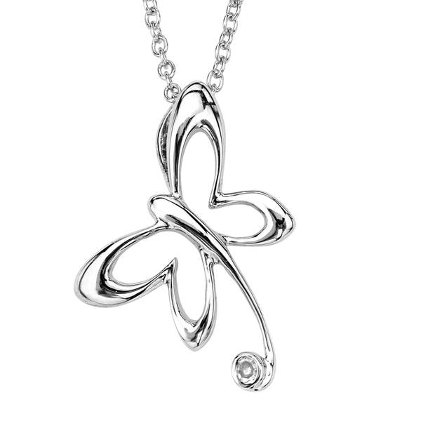 Sterling Silver Diamond Whimsical Butterfly Pendant