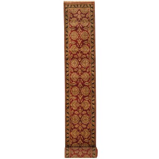 Herat Oriental Indo Hand-knotted Khorasan Red/ Black Wool Runner (2'5 x 20'2)