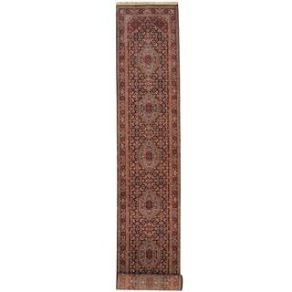 Herat Oriental Indo Hand-knotted Bidjar Navy/ Red Wool Runner (2'7 x 16'5)