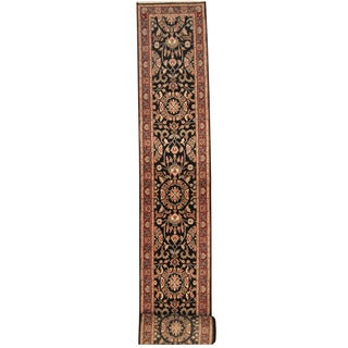 Herat Oriental Indo Hand-knotted Tabriz Black/ Red Wool Runner (2'7 x 24')