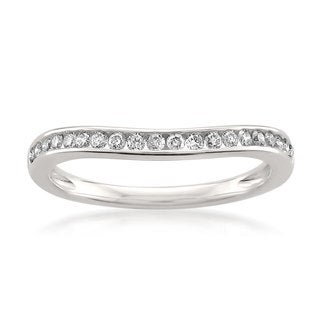 Montebello Jewelry 14k White Gold 1/4ct TDW Diamond Contoured Wedding Band (H-I, SI1-SI2)
