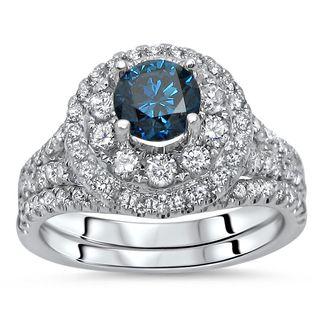 Noori 14k White Gold 1 3/4ct TDW Certified Blue Diamond 2-piece Bridal Set (G-H, SI1-SI2)