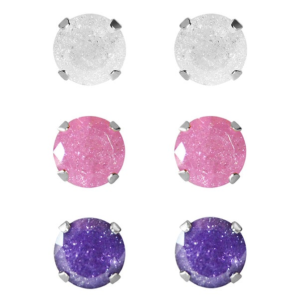 Sterling Silver 10-mm White/ Pink/ Bright Blue Ice Cubic Zirconia Stud Earrings (Set of 3 Pair)