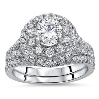 Noori 14k White Gold 1 3/4ct TDW Round Diamond Enhanced 2-piece Engagement Bridal Set (G-H, SI1-SI2)