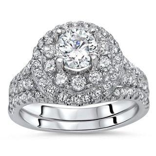Noori 14k White Gold 1 1/2ct TDW Diamond Enhanced 2-piece Engagement Bridal Set (G-H, SI1-SI2)