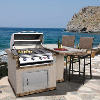 Cal Flame Stucco Stainless Steel 6 Foot 4 Burner Gas Grill Island with Tile