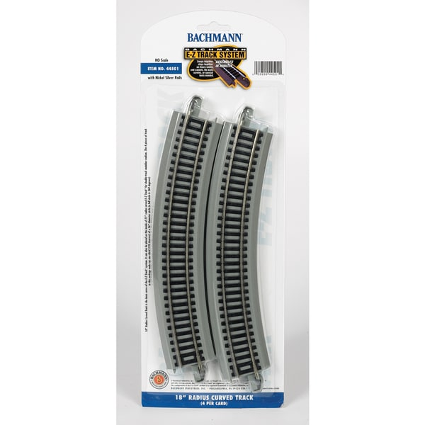 Bachmann Trains 18 Radius Curved Nickel Silver E-Z Track (4/Card) HO Scale