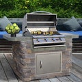 Natural Stone, Tile and Stainless Steel 6 Foot 4 Burner Gas Grill Island