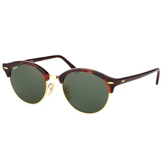 Ray-Ban RB 4246 990 Clubround Red Havana And Gold Plastic Clubmaster Green Lens Sunglasses