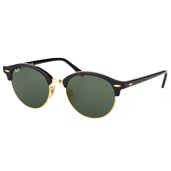 Ray-Ban RB 4246 901 Clubround Black And Gold Plastic Clubmaster Green Lens Sunglasses
