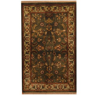 Herat Oriental Indo Hand-knotted Mahal Olive/ Green Wool Rug (3' x 5')