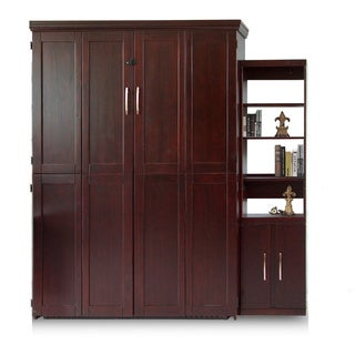 Bella Terra Espresso Queen Murphy Bed with One Door Bookcase