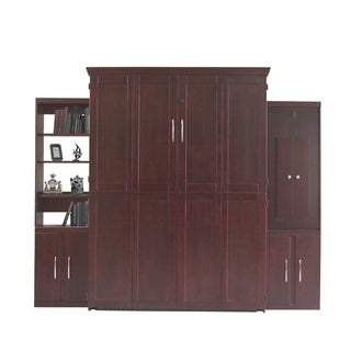 Bella Terra Espresso Queen Murphy Bed with Two Door Bookcases and Flip-Down Desk