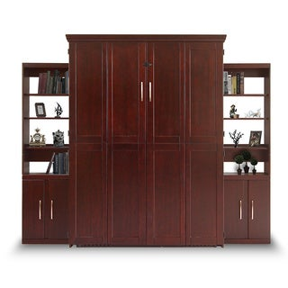 Bella Terra Espresso Finish Queen Murphy Bed with Two Door Bookcase