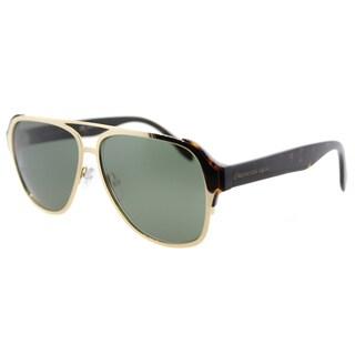 Alexander McQueen AM 0012S 001 Gold Havana Metal Aviator Green Lens Sunglasses