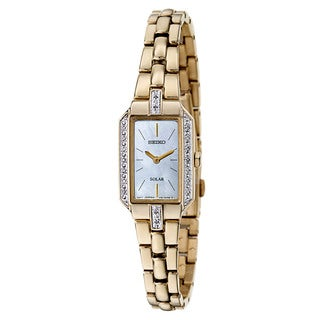 Seiko Women's SUP236 Stainless Steel Gold Plated Solar Powered Watch with Mother of Pearl Dial and White Diamonds