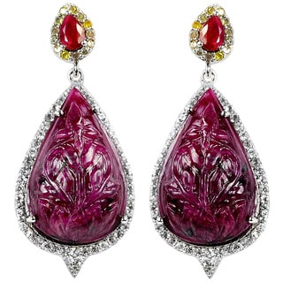 Orchid Jewelry One of A Kind 925 Sterling Silver Earring 51.61ct TGW Genuine Diamond, Ruby & White Topaz