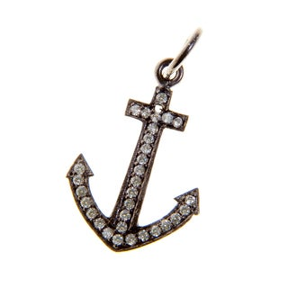 Rhodium Plated Sterling Silver Anchor Cubic Zirconia Charm Necklace (India)