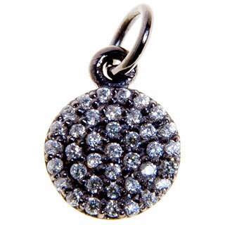 Rhodium-Plated Sterling Silver Cubic Zircon Charm Necklace (India)